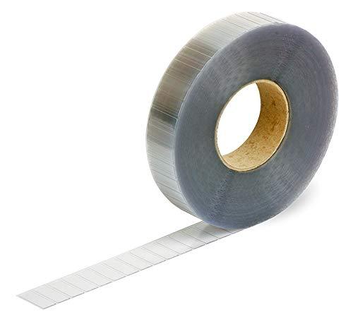 Sluitetiketten, 30 x 12 mm, 7500 stuks (kleefpunten extreem sterk klevend, hoekige stickers permanent klevend) transparant/doorzichtig