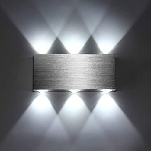 Lightess Applique Murale LED 6W Intérieur Lampe Murale Moderne Carré Up Down en Aluminium Eclairage Décoration Lumière pour Chambre a Coucher Bureau Lit Couloir Salon Hôtel Bar Blanc Froid