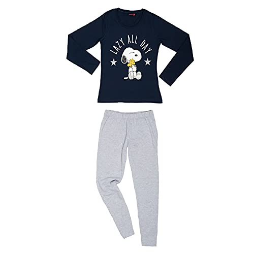 United Labels Peanuts Snoopy Damen Pyjama Schlafanzug Set Langarm Oberteil mit Hose Blau Grau (XL)