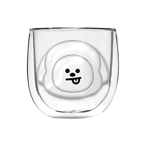 PPuujia Botella de agua de vidrio doble capa interna al vacío anti-quemadura familiar lindo y creativo taza de café taza (color: B)