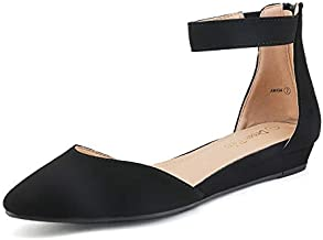 DREAM PAIRS Women's Black Nubuck Low Wedge Ankle Strap Flats Shoes Size 10 M US Amiga