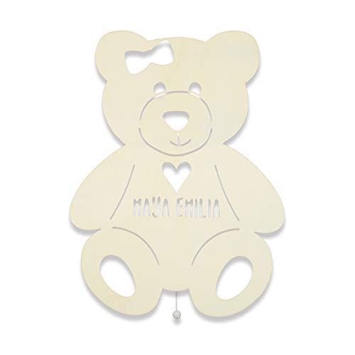 Schlummerlicht mit Namen personalisiertes Nachtlicht Holz LED Kinderlampe Tauf-Geschenk für Mädchen oder Jungen Tilda der Teddy mit Herz Teddybär Baby-zimmer Kinderzimmer Lampe [Energieklasse A++]