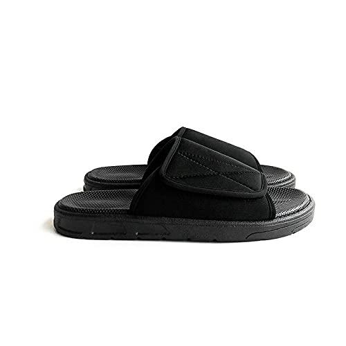 MLLM Edema - Zapatillas para artritis hinchadas, zapatillas diabéticas masculinas y femeninas, pegatinas mágicas de tamaño ajustable, color negro - 42, pantuflas diabéticas de ajuste ancho