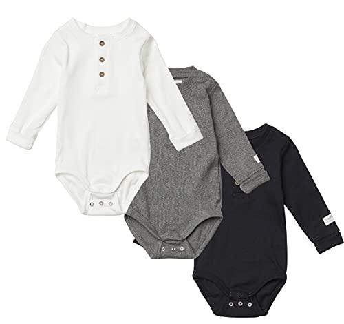 Tiny One Baby Body im 3er Set   Unisex   Mädchen und Jungen   Schwarz   Grau   Weiß   Biologische Baumwolle   GOTS   0 - 18 Monate, Variante:Schwarz   Cremeweiß   Graumeliert, Größe:80   9-12 Monate