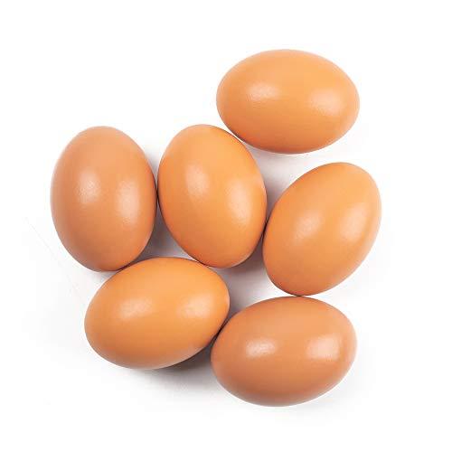 SallyFashion 6Pcs Wooden Faux Fake Eggs, Children Play Kitchen Game...