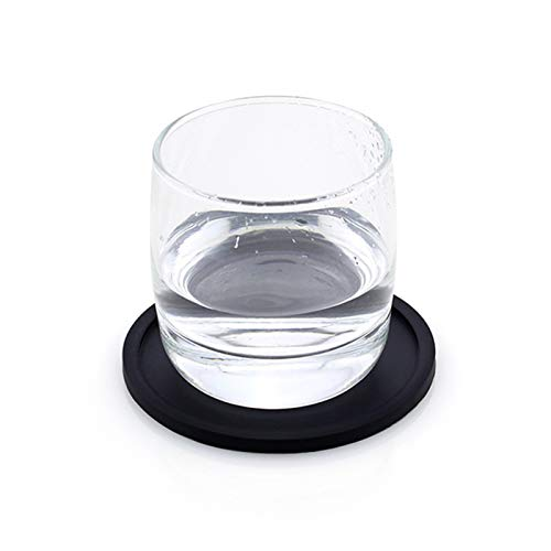 New 5-Piece Set Non-Slip Silicone Drinking Coaster Cup Mat Pad Coaster Table Placemats Durable Coffee Cup Mat Kitchen Accessories 420 (Color : Black, Size : Round)