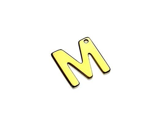 Tata Gisèle - Abalorio de acero inoxidable dorado para creación de joyas – Letra M