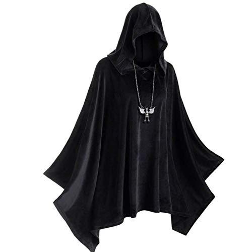 nbvmngjhjlkjlUK Capa de Sombrero de Bruja, Juego de Roles Disfraz de Escenario de Halloween Brujas Vampiros Sombrero de Bruja Medieval Cape Corner Traje de Cosplay gtico renacentista (Negro, L)