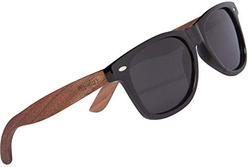 WOODIES Polarized Walnut Wood Sunglasses for Kids Black Polarized Lenses and Real Wooden Frame product image