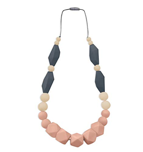 REIGNDROP Baby Teething Necklace for Mom to Wear, Silicone Teether for Pain Relief in Babies and Toddlers, Light Weight Stylist Sensory Chew Necklace for Kids Adults (Peach/Ivory/Grey)