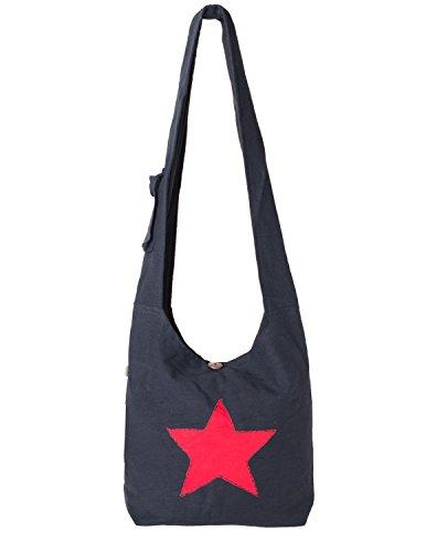 Vishes - Yogi Beuteltasche aus Baumwolle mit aufgenähtem Stern schwarz-rot