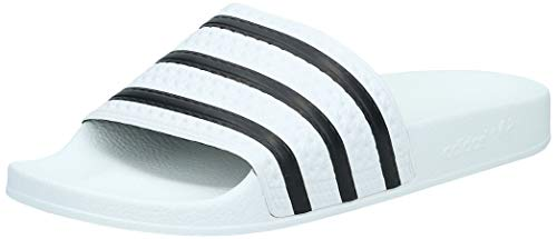 adidas Adilette - Zapatillas de estar por casa, unisex, color blanco (white/black 1/white), talla 44 1/2