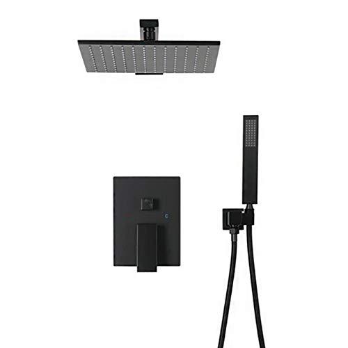 Sistema De Ducha Tipo Lluvia Negro Mezclador De Lluvia Conjunto Combinado De Ducha Montaje En La Pared Juego De Grifos De Ducha Expuestos para Baño Ducha De Mano, 8 Pulgadas,B