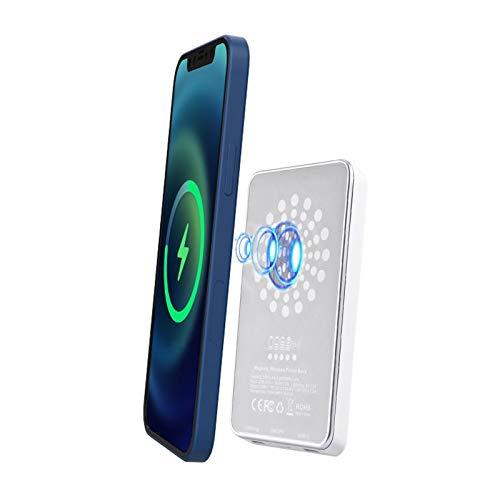 Rebornsun 2 IN 1 ワイヤレス充電器 モバイルバッテリー充電 MagSafe対応 磁気吸着 スタンド機能搭載 15W急速充電 持ち運び コードレス充電 マグネット内蔵 過熱保護 5000mAh携帯充電器 ホワイト iPhone 12 Mini / 12 Pro / iPhone12 / 12ProMaxワイヤレス充電器