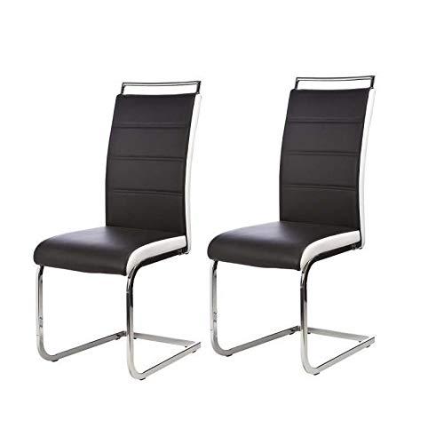 DYLAN Lot de 2 chaises de salle a manger - Simili noir et blanc - Contemporain - L 42,5 x56 cm