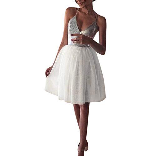 Zottom Damen Mode V-Ausschnitt Sling Hohe Taille Pailletten Nähen Hochzeitskleid Rock Minirock(Weiß,Medium)