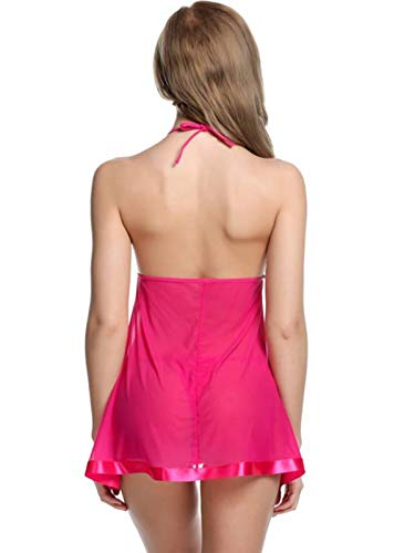 Lovie's Women Baby Doll Sleepwear with Panty and Lingerie Set Nightwear (Babydoll G - String Panty) Free Size-(4 Pcs) Pink,Red