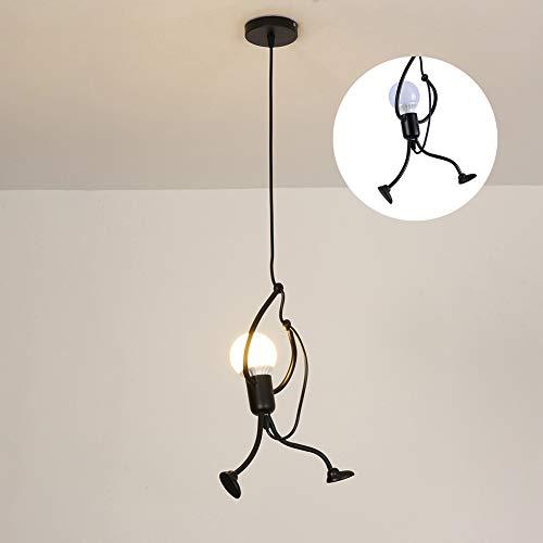 RMane Pendelleuchte Eisen Kreativer Kronleuchter Hängeleuchte Deckenleuchte für Kinderzimmer Schlafzimmer Wohnzimmer Foyer Küche - E27 Modern - Lampe nicht Enthalten (Schwarz)
