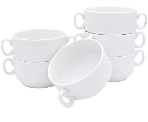 Lot de 6 tasses à soupe de 300 ml avec anse, en porcelaine véritable