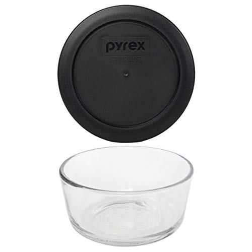 Pyrex (1) 7200 2 cup Glass Dish & (1) 7200-PC 2 Cup Black Lid