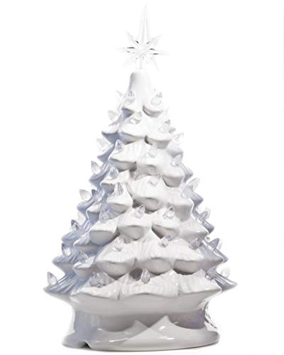 ReLIVE Christmas is Forever Lighted Tabletop Ceramic Tree, 16-Inch White Tree with White Lights