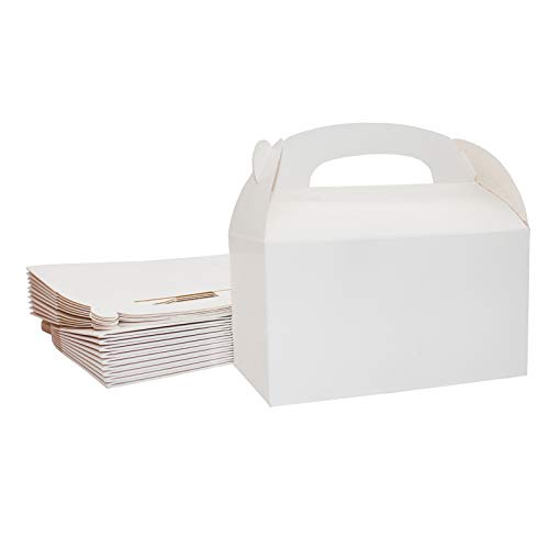 Xxcxpark 24 Pack Treat Boxes White Goodies Boxes, Kraft Paper Candy Treat Boxes Blank Paintable Gift Boxes Party Favor Boxes for Birthday Party, Wedding, Baby Shower - 6.2 x 3.5 x 3.5 in
