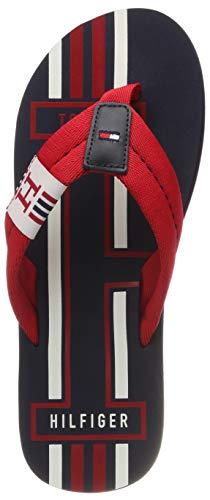 Tommy Hilfiger Badge Textile Beach Sandal, Chanclas para Hombre, Rojo (Tango Red 611), 42 EU