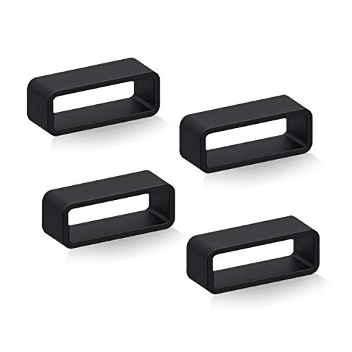 Dura Straps Watch Band Loop RingsPack of 4 Holder Keeper for Silicone Leather Rubber or Resin Belt   Durable Fastener Retainer (Black, 18mm)