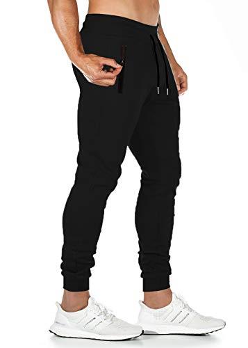Lantch Jogginghose Herren Hose Baumwolle Jogger Sportswear Hosen Fitness Slim Fit Sporthose Männer Trainingshose Streifen Freizeithose Streetwear(BK,L)