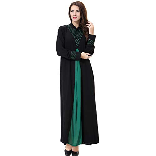 Femme Musulmane Longue, Femmes Musulman Kaftan Abaya Col V Robe Maxi Arabe Traditionnel Musulmans Robe de Prière Abaya Long Dubai Long Hijabs Arabie Islamique Ladies Wrap élégante