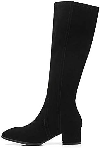 HOESCZS 2019 Femmes Genou Bottes à La Mode Fermeture à Glissière Tous Les Match Plate-Forme Bout Pointu Carré Talon Haut Femmes Bottes Grande Taille 34-39