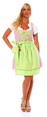 10590 Fashion4Young Damen Dirndl 3 tlg.Trachtenkleid Kleid Mini Bluse Schrze Trachten Oktoberfest, 10590 Weiss Rosa, 34