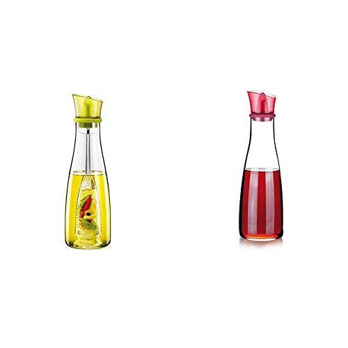 Tescoma Vitamino Oliera con Infusore, Verde, 500 ml & Vitamino Acetiera, Vetro, Rosso