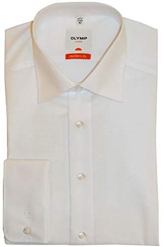 OLYMP Modern Fit overhemd dubbele manchet, wit Strijkvrij - Maat 46