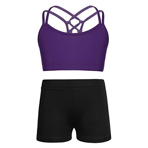 Alvivi Mädchen Sport BH Crop Tops Tanz Bustier Yoga BH Weste mit Shorts Ballettanzug Tanzanzug Gym Fitness Sport Trainingsanzug Lila 11-12 Jahre