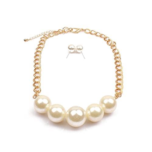 Juego de collar y pendientes de perlas vintage para mujer