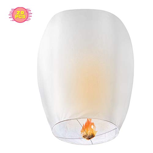 Compatible/Replacement for White Lanterns, CAMTOA 20 Pack Lanterns - 100% Biodegradable, Eco-Friendly, Lanterns for Weddings, Celebrations, Memorial Ceremonies