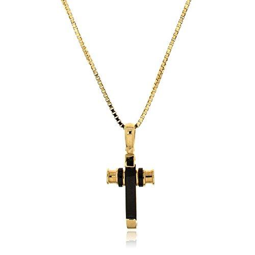 Gioiello Italiano - Gele gouden ketting met kruis hanger