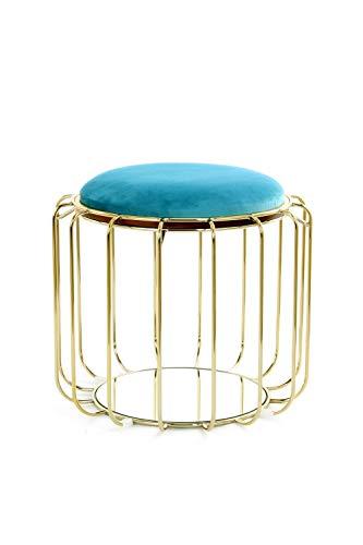 One Couture Pouf Sgabello Tavolino Multifunzione Oro Velluto Sgabello Blu Turchese