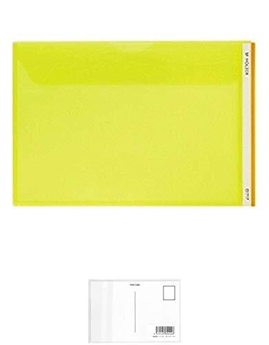 キングジム Mホルダー(ヨコガタ) A4E 733E 黄 + 画材屋ドットコム ポストカードA