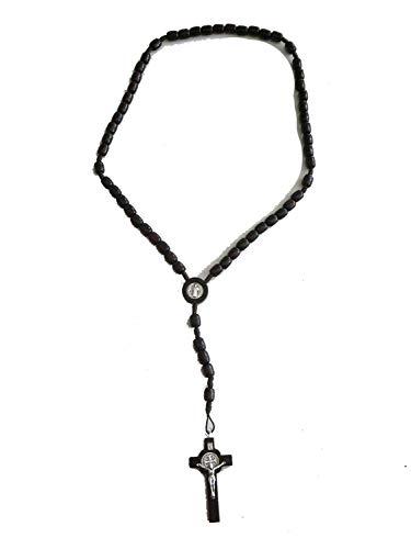 GTBITALY Rosario Marrone Legno 50 GRANI + 5 Rosario di San Benedetto da Collo con medaglia esorcista esorcismo Chiesa prete Suora