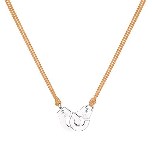Colgante y collar de esposas de plata de ley 925 pura de 20 colores para mujer Collar de plata Menottes con cuerda de color marrón claro