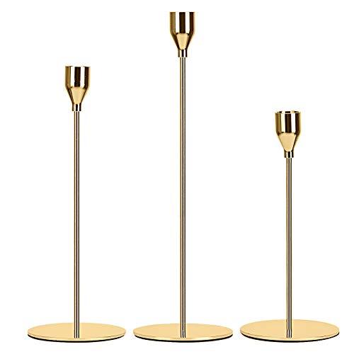 Wuudi Kerzenständer 3 Stück/Satz in Unterschiedlicher Größe, Tabelle Hochzeit Kerze Stand, 24/28/33cm Kerzenhalter für Abendessen bei Kerzenlicht Kerzenständer Dekoration, Gold