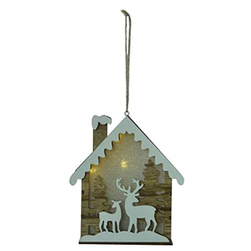 Haucy Decoración para árbol de Navidad de madera, colgante de casita de...