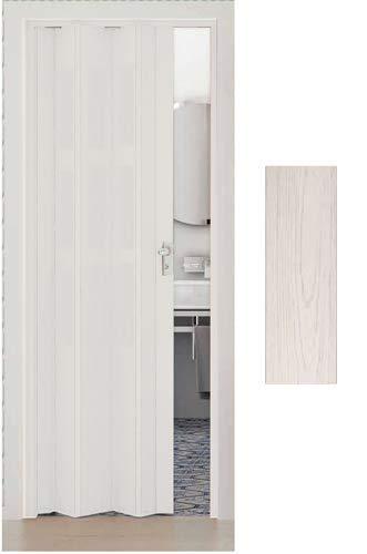 Porte pliante pin blanchi en pvc accordèon coulissante cendre blanc 83x214 maya