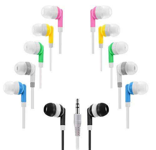Wholesale Kids Bulk Earbuds Headphones (10-Pack) Earphones, 6 Assorted Colors, for Schools, Libraries, Hospitals by Deal Maniac