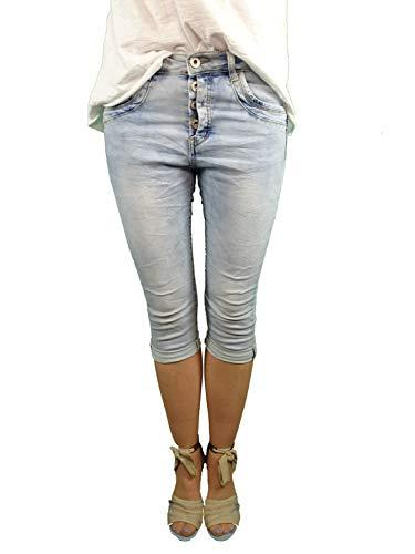 Jewelly by Lexxury Damesbroek, met half verborgen knoopsluiting, korte jeansbroek, lichte zomerse jeans-wassing, bermuda voor vrouwen, perfecte pasvorm met stretch