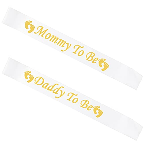 D-Pink Faja de bebé para mamá papá, embarazada AF Faja para mamá o papá a ser y papá para ser y revelar género del bebé, decoración de anuncios de embarazo, regalo para mamá y papá, color blan