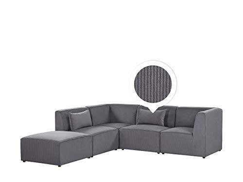 Canapé d'angle 4 places Gris Velours Moderne