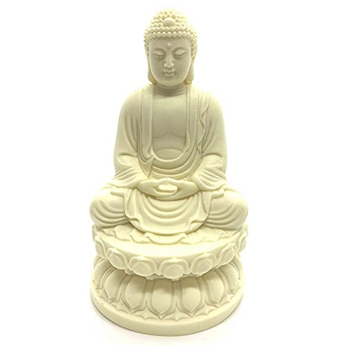 Buddha Statue for Home and Garden,4.5' Shakyamuni Buddha Statue,Ivory Finish Seated Statue,Collectibles and Figurines,Desk Decor Zen Decor Garden Decor,Pray for Blessing.